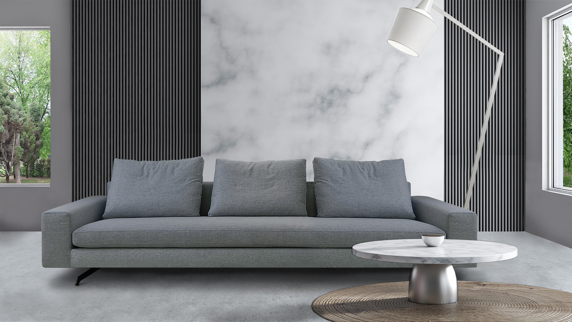 Interior of comfortable living room with gray and white marble walls, concrete floor and soft gray couch standing near white marble coffee table on carpet. 3d rendering
