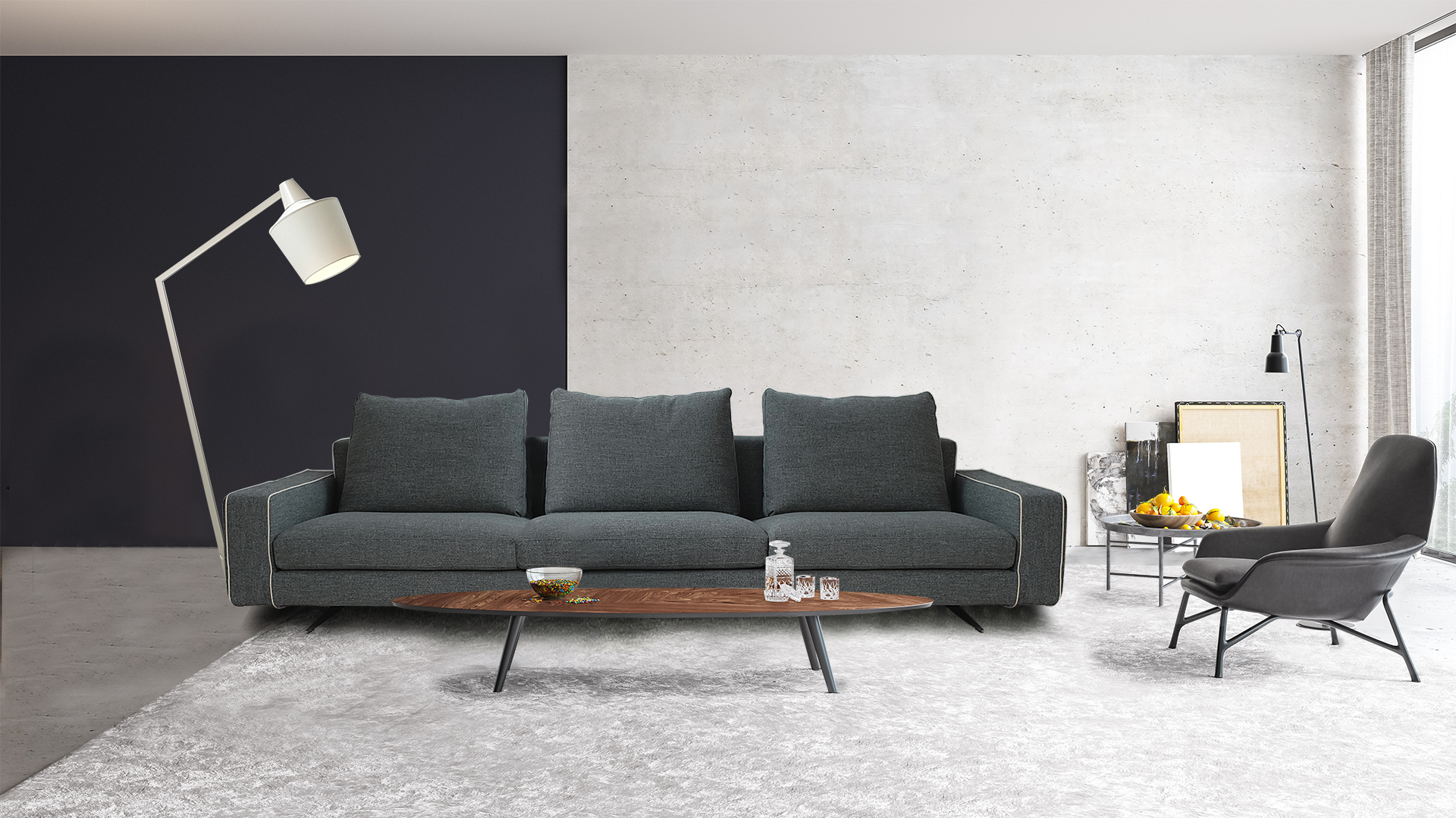 Modern interior design of a living room in an apartment, house, office, comfortable sofa, bright modern interior details and light from the window on the background of the Disiner wall.